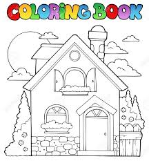 coloring book house theme image 1 vector illustration royalty