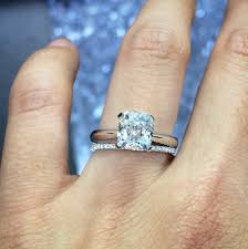 engagement rings chicago cushion solitaire engagement ring with eternity diamond band