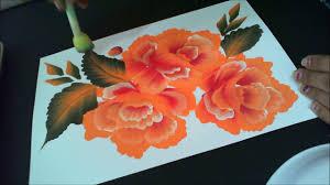 orange roses one stroke painting orange roses with white highlight