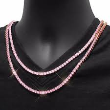 chain necklace size images Hip hop iced out tennis chain choker necklace pink cubic zircon jpg