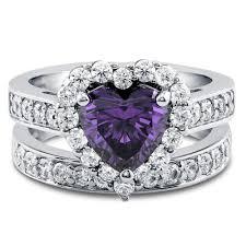 amethyst heart rings images Amethyst 1 9ct heart cut russian lab diamond halo bridal set ring jpg