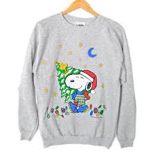 snoopy christmas sweatshirt peanuts santa snoopy tacky christmas sweatshirt