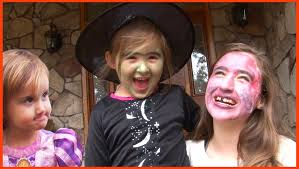 kids halloween makeup and trick or treating fun prank on little