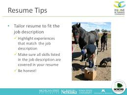 Tailor Resume To Job by Finding Your Dream Job In The Us Horse Industry