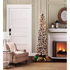 flocked pencil slim tree 7ft with stay lit