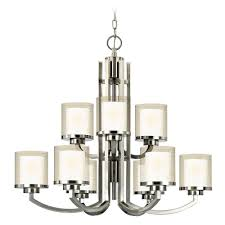 White Chandelier With Shades Modern Two Tier Chandelier With Clear Seedy And White Glass Shades
