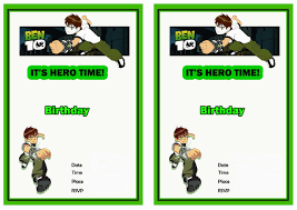ben 10 free printable birthday party invitations birthday party