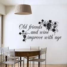 old friends and wine new wall stickers decals black old friends and wine new wall decal on a dining room wall