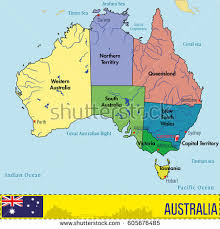 map of australia political vector highly detailed political map australia stock vector