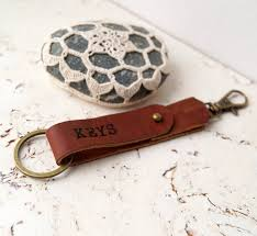 3rd wedding anniversary gift custom personalized genuine leather keychain engraved leather key