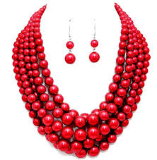 fashion jewelry red necklace images Chunky layered bright red pearl necklace set jpg