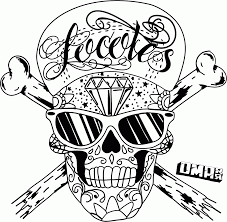 perspective coloring pages of skulls and roses with copy sugar skull