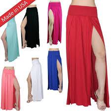 slit long maxi skirt high banded waist full length two split plus