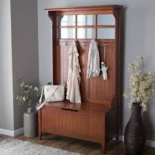 hall tree with storage bench mirror coat rack cherry for entryway