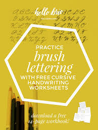practice brush lettering with cursive handwriting worksheets