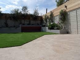 small garden design travertine paving artificial easi grass fake