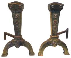 consigned antique copper u0026 brass andirons traditional