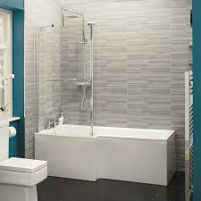 verona 1700 x 850 left hand l shaped shower bath with 6mm fixed screen