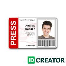 newspaper press pass id from idcreator