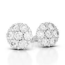 diamond cluster earrings 0 50 ct k i2 cluster diamond stud earrings