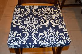 Barstool Cushions Navy Blue With Cream Twill Fabric Chair Cushion Cover
