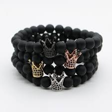 black bead bracelet with charm images Micro pave black cz zirconia gold color king crown charm bracelet jpg