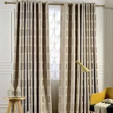 Long Living Room Curtains Coffee Plaid Jacquard Linen Contemporary Long Curtains For Bedroom