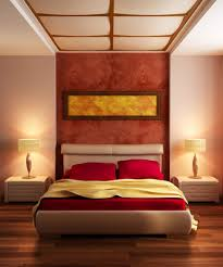 japanese style bedroom designs with red and cream colors bedroom