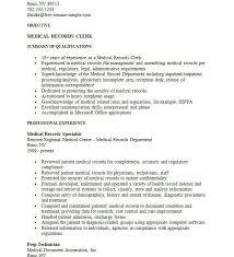 health records clerk sample resume glamorous medical records