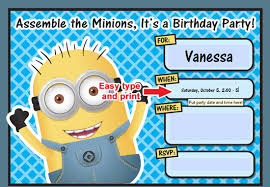 free printable despicable minion birthday invitation