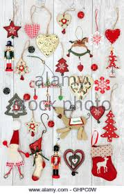 fashioned tree decorations crackers stock photo