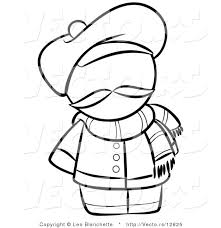 vector french person hat scarf coloring