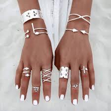finger rings pictures images Women vintage 8pcs set popular antique silver knuckle midi mid jpg