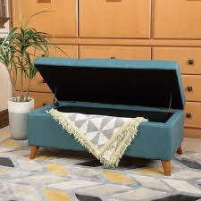 remarkable teal storage ottoman with guernsey studded faux leather