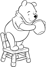 pooh standing on his chair and looking for a honey coloring page