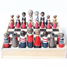 wooden chess set pirates vs peace makers unique chess set