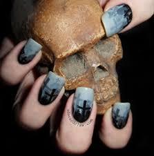 misty graveyard nail art stamping nail art design ideas