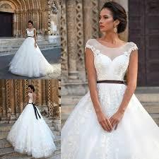 wedding dresses with sash ribbon vintage 2016 lace wedding dresses sheer neck applique cap sleeve