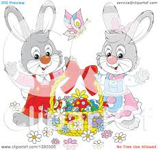 clipart of a gray easter bunny rabbit couple with a basket of eggs