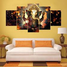 art and home decor lord ganesha indian god paintings 5 pieces canvas wall art home