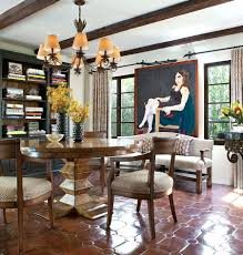 Spanish For Floor Spanish Colonial Dining Room With Sparkling Terracotta Tiles