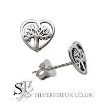 silver stud earrings uk small tree of heart earrings tree of stud earrings