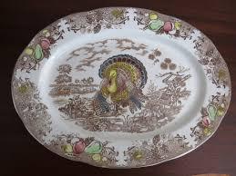 turkey platters thanksgiving vintage turkey platter brown multicolored transferware medium