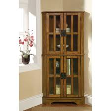 decorating corner curio cabinet with 4 doors for home furniture ideas