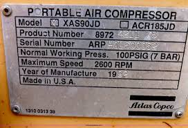 1992 atlas copco xas90 portable air compressor item i9115