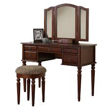 Bedroom Furniture Set With Vanity Poundex Furniture F407 Bobkona St Croix Vanity Set With Stool