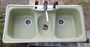 Vintage Mid Century Cast Iron Avocado Porcelain Retro Kitchen Sink - Retro kitchen sink