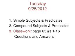 simple and compound subjects and predicates unit 1