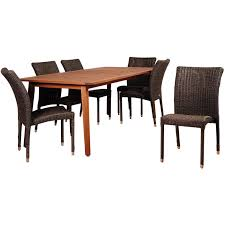 stacking dining room chairs amazonia abaco 6 person resin wicker patio dining set with