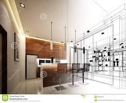 abstract sketch design of interior kitchen stock illustration